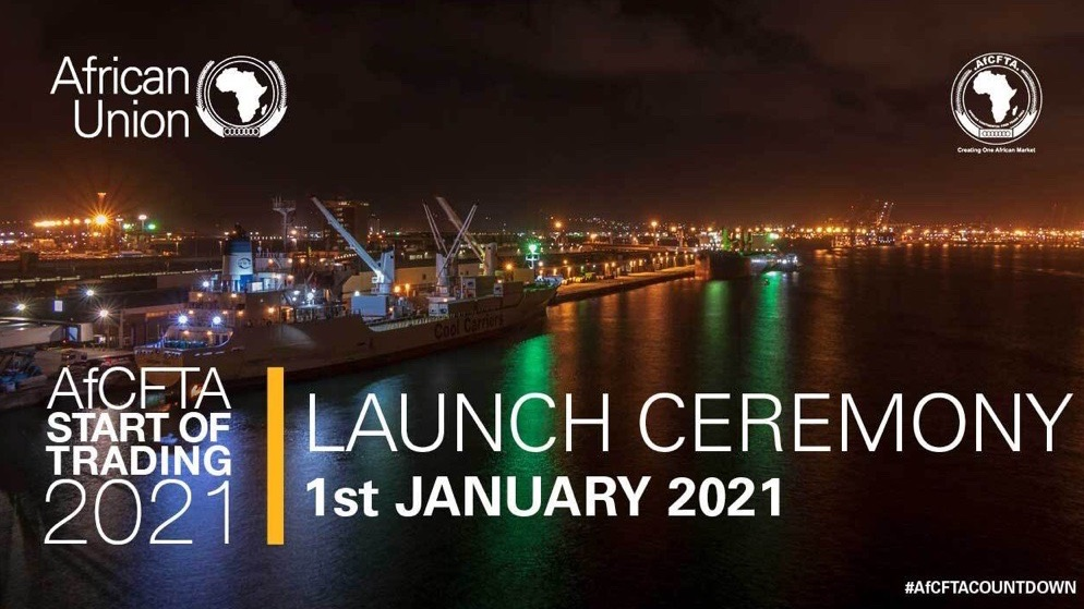 Banner Africa Union, AfCFTA Start of Trading 2021- Launch Ceremony 1st January 2021