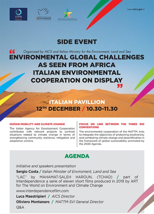 """Madrid, 12 dicembre – COP 25 – """"Environmental global challenges as seen from Africa Italian environmental cooperation on display"""""""