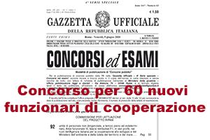 """banner del """"concorso per 60 funzionari di cooperazione"""""""