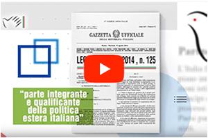 banner in home page del video istituzionale dell'Agenzia italiana per la cooperazione allo sviluppo