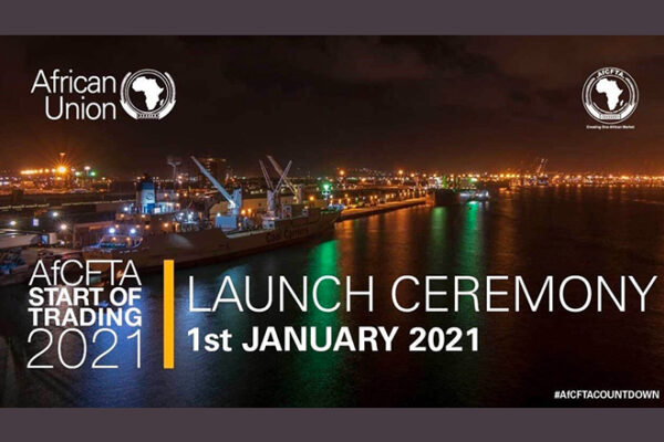 Banner African Union, AfCFTA Start of Trading 2021- Launch Ceremony 1st January 2021