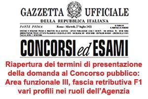 Icona con frontespizio della Gazzetta ufficiale per concorso pubblico Area funzionale III, fascia retributiva F1, vari profili nei ruoli dell'Agenzia