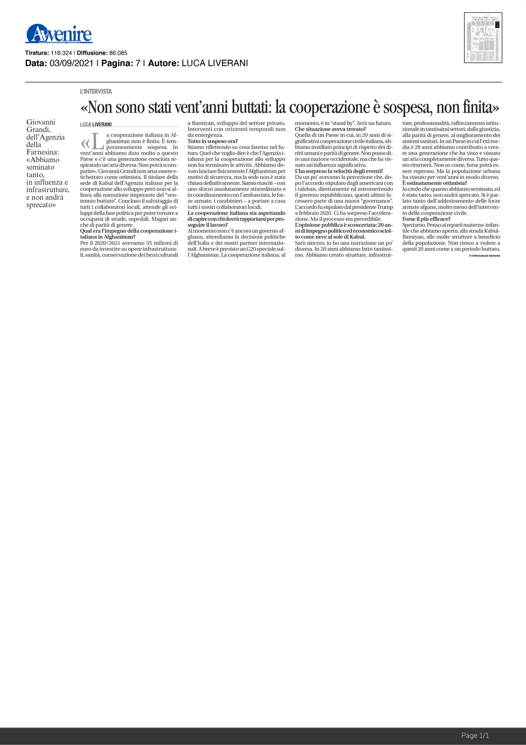 """Intervista a Giovanni Grandi: """"Non sono stati vent'anni buttati: la cooperazione è sospesa, non finita"""" – Avvenire"""